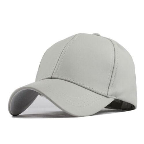 Men Women Plain Leather Baseball Cap Summer Sports Curved Sun Visor Snapback Hat