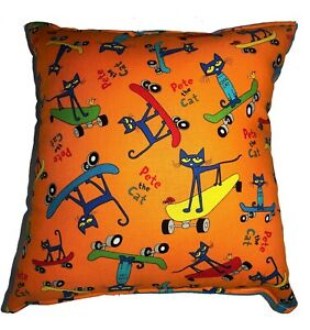 Pete-The-Cat-Pillow-Story-Book-Cat-HANDMADE-In-USA-Pillow-Skate-Boarding