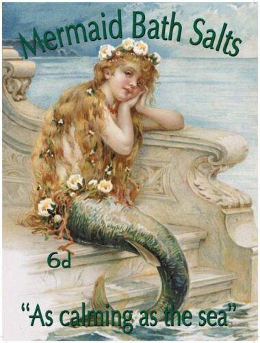 Mermaid Bath Salts Seaside Holiday Bathroom Vintage Ad Small Metal Steel Sign