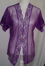Vintage 70's Feminine Sheer Purple Lace Bed Jacket Women's Size S