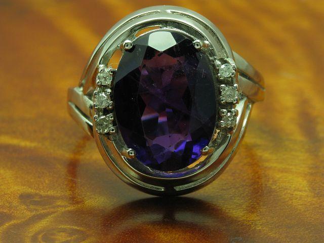 14kt 585 whitegold Ring mit Diamant & 5,30ct Amethyst Besatz   5,8g   RG 57