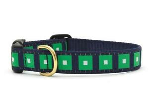 Up-Country-Designer-Cube-Appeal-Dog-Collar-Large-Made-in-USA-Navy-Blue-Green