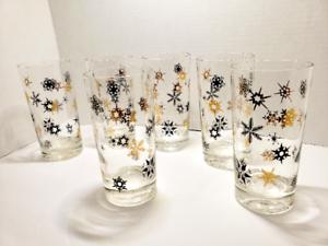 Mid-Century-Modern-MCM-Starburst-and-Snowflake-Christmas-Glasses-Set-of-6