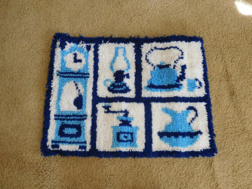 "Vintage Mid Century Hooked Rug Wall Hanging Kitchen Theme 27"" x 21"" FREE S&H"