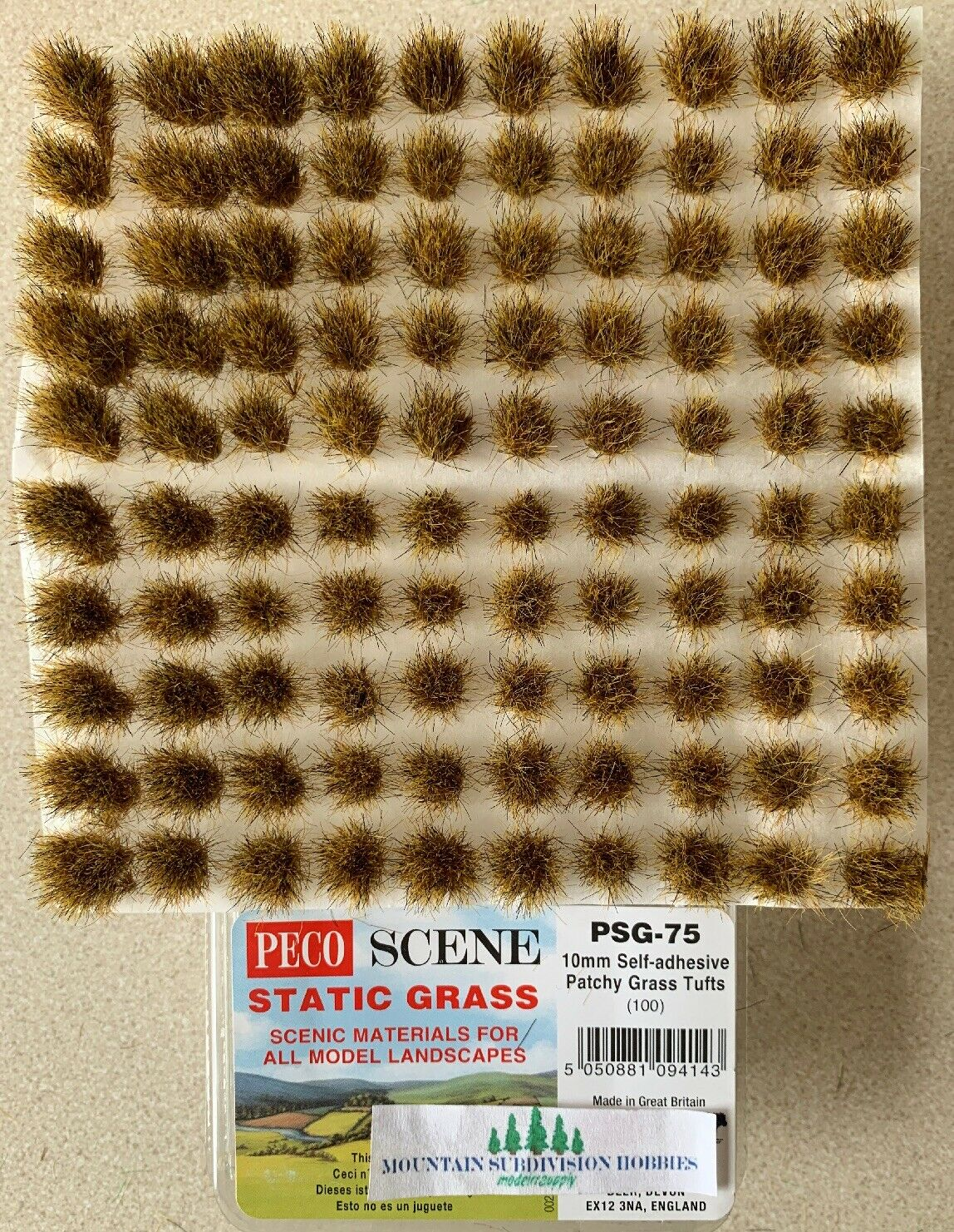 ground cover 100 Approx 10mm Patchy Grass Tufts - Peco PSG-75 F1