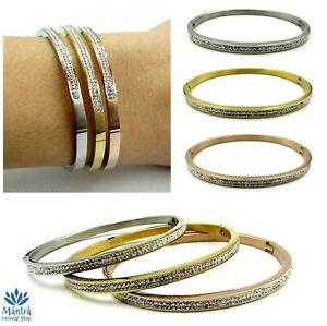 Bracciale rigido da donna in acciaio braccialetto con zirconi argento oro rosa