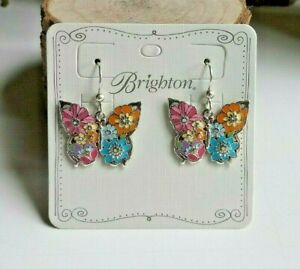 Brighton-Enchanted-Garden-Butterfly-French-Wire-Earrings-TAGS-amp-POUCH