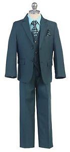 Boy Toddler Kid Teen 5PC Wedding Formal Party Nile Green Suit Tuxedo Vest 2-20