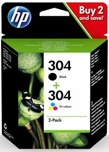 HP 3JB05AE Combo 304 Tri-colour & Black Ink Cartridges Twin Pack