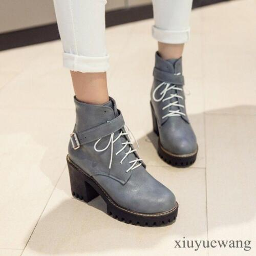 Women PU Leather Block Heel Platform Lace Up Shoes Round Toe Ankle Boots Design