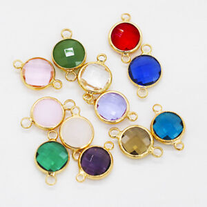 Octagon Faceted Framed Glass Pendant Earring Findings necklace connector 2-Loops