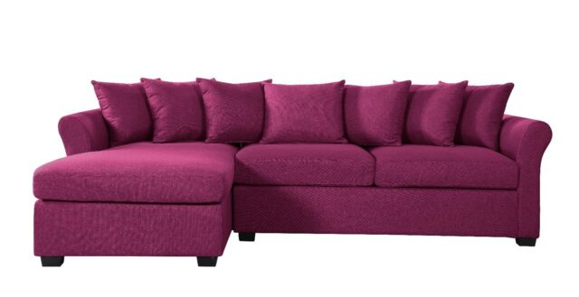 Modern Large Fabric Sectional Sofa With Extra Wide Chaise Lounge, Couch,  Purple