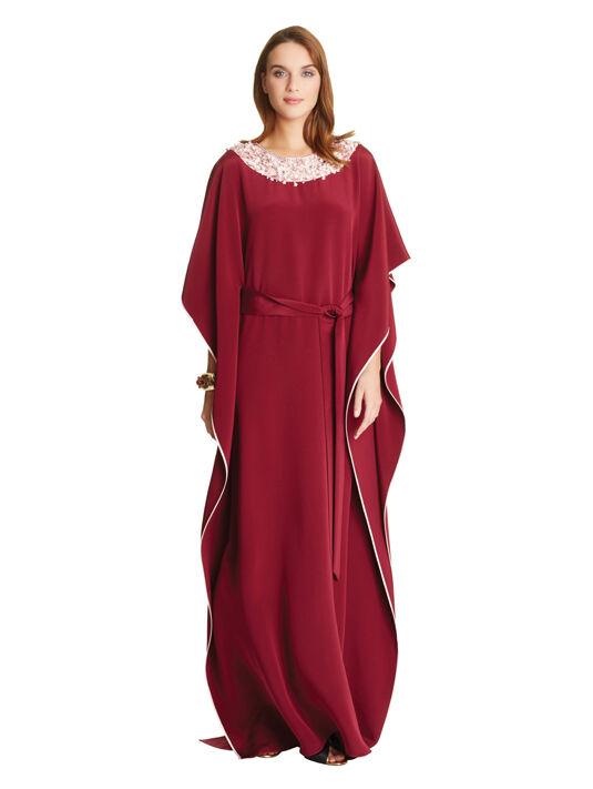 2990 New Oscar de la Renta BORDEAUX SILK CREPE Pink Embr Caftan Dress Gown S
