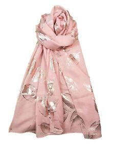 nuovo stile ac163 df8ac Dettagli su FOGLIA D'AUTUNNO STAMPA METALLICA ORO ROSA LUCIDO MORBIDA  Sciarpa Stola Hijab regalo 5 COLORI- mostra il titolo originale