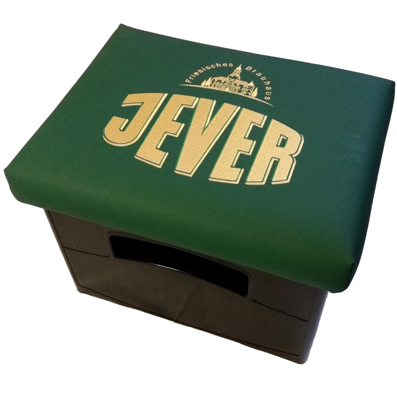 Bierkistensitzkissen Biermarken-Original JEVER Logo auf grünem Kunstleder- Leder