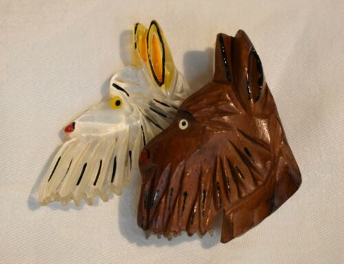 1940's Lucite and Wood Scottie Dogs Head Brooch -