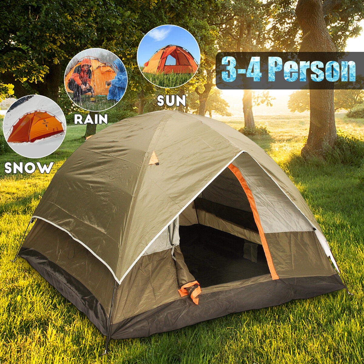 210T Trip 4 Person Camping Tent Double-layer Waterproof Family Outdoor Hiking