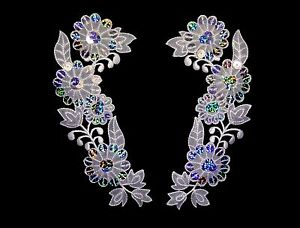 "6x2.5"" White Organza Floral Collar Lace Pair Silver Laser Patch Applique by Pair"
