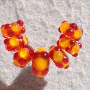 SPICED CIDER Set(7) Handmade Art Glass Beads Flaming Fools Lampwork Art Glass