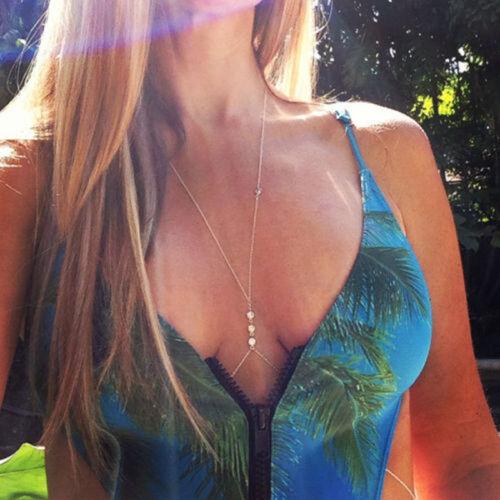 New Fashion or//argent Bikini Crossover Taille Ventre Harnais Body Chaîne Collier