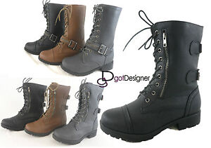 NEW Womens Military Combat Boots Shoes Lace Up Mid Calf Buckle ...