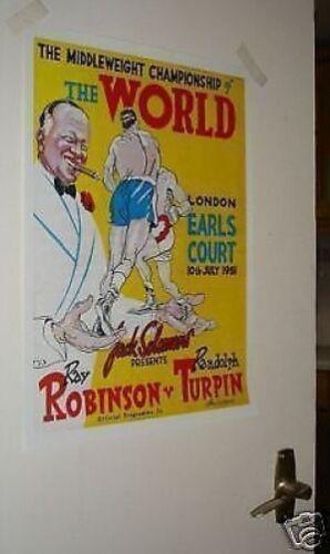 Sugar Ray Robinson v Turpin Door Poster of Programme