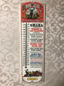 VNTG-Union-Pacific-Rail-Road-Platte-Valley-Route-Advertisng-Thermometer-Omaha-NE