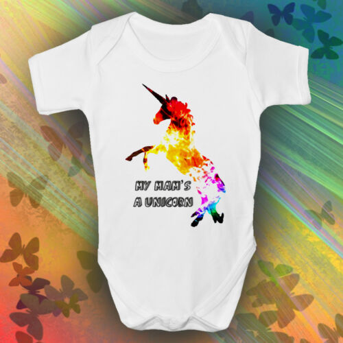 My Mam/'s A Unicorn Baby GrowMysticalMagicalGirls Baby Romper