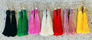 Premium-Tassel-Fringe-Earrings-All-Colours-Vibrant-Hi-Quality-Silk-String-Hooks