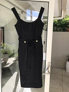 save off excellent quality Good Prices Details about Cue Pinafore Dress Charcoal Pencil Skirt Stretch Cute Buttons  Tie