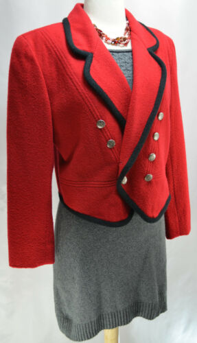 Blazer misto Liz Giacca Red in Vtg Lizwear 6 Military 80s Taglia lana Claiborne Black SEqCgqX