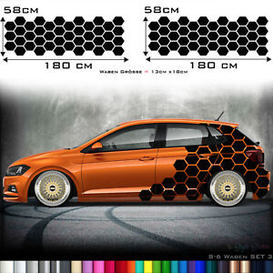 Details Zu 2x Aufkleber Auto Car Tattoo Decor Seitenaufkleber Pixel 2er Set Waben Muster 6
