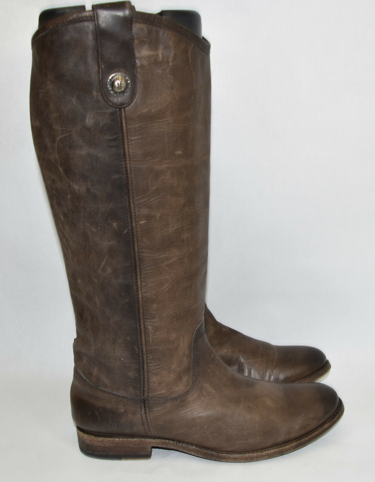 Frye  7.5  'Melissa Button' Riding Boot Slate Grigio Knee High Leather  370 77172