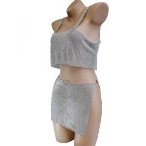 d416a2d6b52 Metallic Mesh Chainmail Halter Draped Bra Crop Top Package Hip Skirt ...