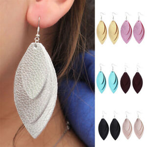 Cutting-Leaf-Feather-Earrings-Faux-Leather-Sequins-Drop-Dangle-Earring-New