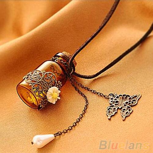 Womens Fantastic Hollow Flower Long Chain Rope Wishing Bottle Butterfly Necklace