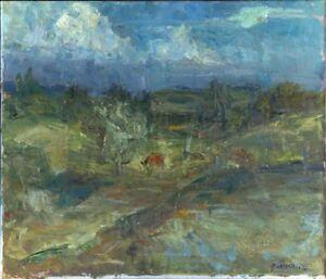 Russischer-Realist-Expressionist-Ol-Leinwand-034-Wolken-034-69-x-60-cm