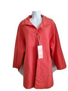 425-NWT-Yacco-Maricard-Salmon-Top-Size-2-Three-Deep-Pockets-100-Cotton