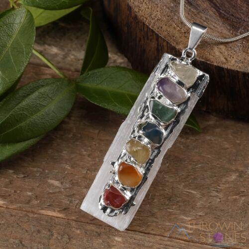 "2.5/"" White Selenite Charging Slab Jewelry E0284 SELENITE 7 Chakra Pendant"