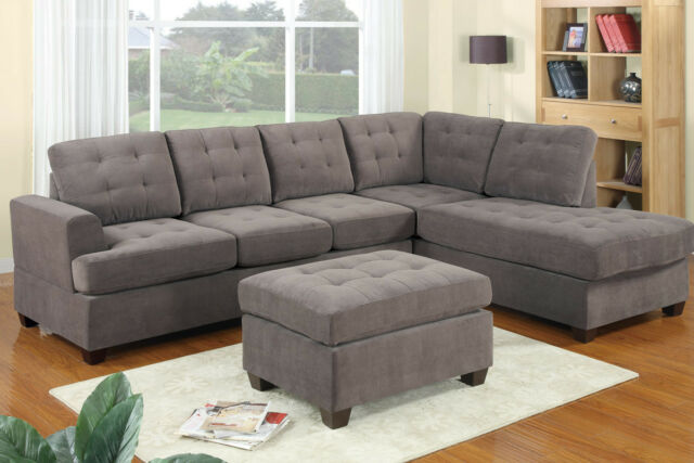 Modern Poundex F7137 Charcoal Suede Microfiber Fabric Sectional Sofa