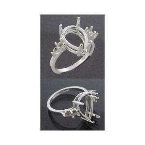 (10x7mm - 16x12mm) Pear Double Accent Sterling .925 Ring Setting (Ring Sizes 7)