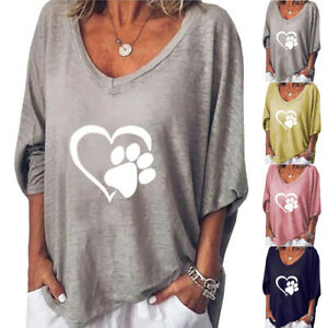 Womens V Neck  Long Sleeve Cat Printed Loose Tops Casual Blouse T Shirt Tops