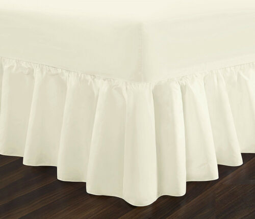 Plain Dyed Fitted Valance Sheet Poly-Cotton Bed Sheet Single Double /& King Sizes