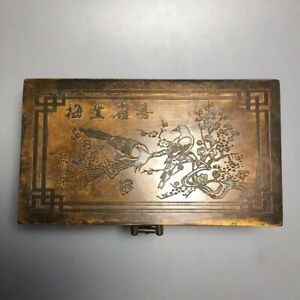 Collectible Old copper carve magpie ascends plum Jewelry Boxes Jewel Storage Box