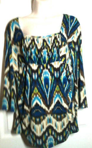 Sere Nade ~ Gathered Front 3/4 Sleeve Top ~ Size L