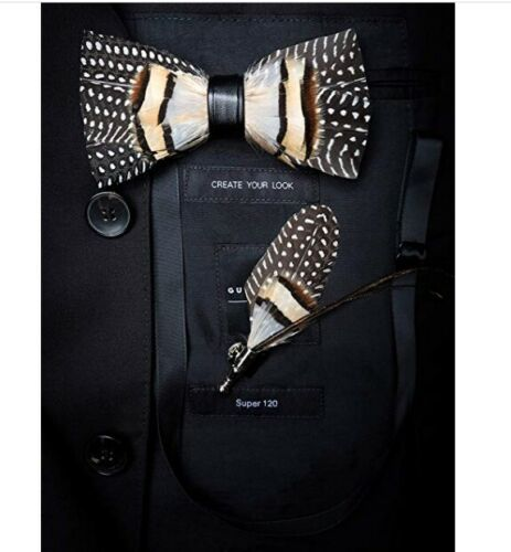 Mens Fashion Handmade Leather Feather Pre Tied Bow Tie Brooch 2 Piece Gift Set