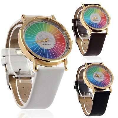 Women Men Rainbow Style Dial Leather Band Quartz Analog Wrist Watches Cheap