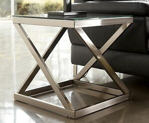 MODERN SQUARE END TABLE GLASS TOP LIVING ROOM CHROME NICKEL FINISH METAL STEE