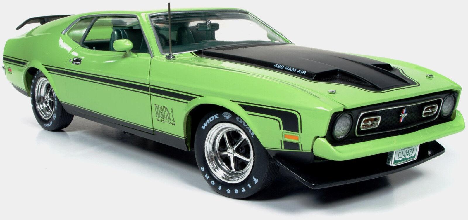 FORD MUSTANG 1971 Mach 1 Vert  citron 1 18 Auto World 1069  produit de qualité d'approvisionnement