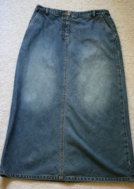 203c0e9516 Ann Taylor Loft Sz 6 Petites Modest Jean Skirt Petite Long Blue Denim No  Slit